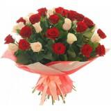 Букет 51 роза Бордо + крем