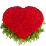 Корзина сердце 301 красная роза