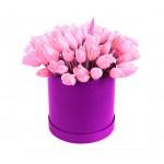 31 розовый тюльпан в шляпной коробке